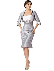 Sheath / Column Mother of the Bride Dress Knee-length Short Sleeve Taffeta with Embroidery