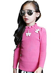 Girl's Wild Solid Beading Bow Knitwear Bottom Sweater & Cardigan