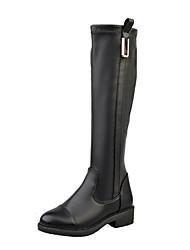 Women's Boots Winter Comfort PU Casual Low Heel Hook & Loop Black Walking