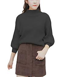 Damen Kurz Pullover-Ausgehen / Lässig/Alltäglich Einfach / Niedlich / Street Schick Solide Mehrfarbig Ständer Langarm BaumwolleHerbst /