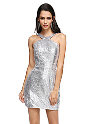 Cocktail Party / Formal Evening Dress Sheath / Column Halter Short / Mini Sequined with Sash / Ribbon
