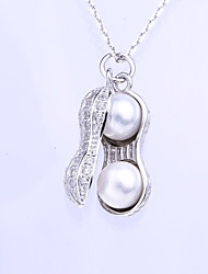Women's Necklace Imitation Pearl Pendant Necklaces Jewelry Wedding / Party Sexy / Fashion Sterling Silver