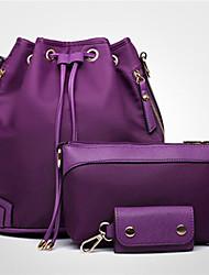 Women Nylon Sports Casual Bag Sets Black Purple Fuchsia Blue