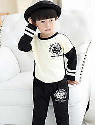 Boy's Casual/Daily Solid Clothing SetCotton Fall Black / Red