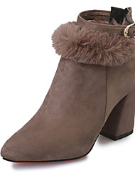 Women's Heels Winter Comfort Microfibre Office & Career Dress Casual Chunky Heel Buckle Zipper Pom-pom Black Khaki Walking
