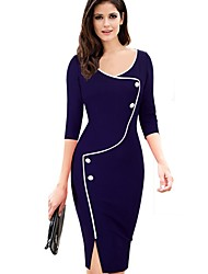 Women's Plus Size Vintage Color Block Bodycon Pencil Dress