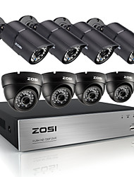 8pcs zosi®hd 720p sistema cctv 8ch DVR sistema di telecamere di sicurezza 1200tvl ir intemperie il video esterno