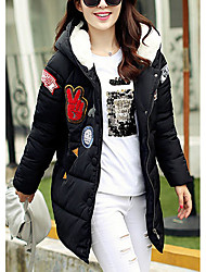 Women's Going out Cute Coat,Print Hooded Long Sleeve Winter Red / White / Black / Green Polyester Thick