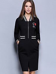 Women's Casual/Daily Simple Sheath Dress,Jacquard V Neck Knee-length Long Sleeve Black Cotton / Nylon / Spandex Fall Mid Rise