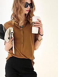Tee-shirt Femme,Couleur Pleine Décontracté / Quotidien / Sortie simple Toutes les Saisons Manches Longues Mao Noir / Gris / Jaune Coton