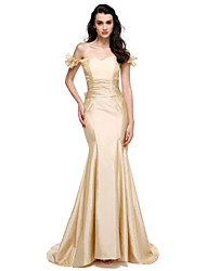 Formal Evening Dress Trumpet / Mermaid Sweetheart Sweep / Brush Train Taffeta with Pleats