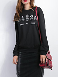 Normal Hoodies Femme Décontracté / Quotidien simple,Imprimé Noir Col Arrondi Manches Longues Coton Automne / Hiver Moyen Micro-élastique