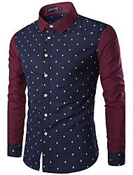 Men's Casual Vintage British Style Fall Winter Long Sleeve Lapel Cotton Stitching Color Skull Print Business Shirt