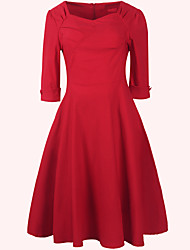 Robe Aux femmes Swing Soirée / Travail , Couleur Pleine U Profond Mi-long Polyester