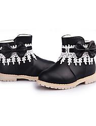Girl's Boots Winter Comfort PU Dress / Casual Flat Heel Beading / Zipper Black / Pink / Red Walking