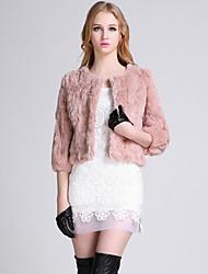 Women's Casual/Daily Simple Fur Coat,Solid Crew Neck ¾ Sleeve Pink Rabbit Fur / Faux Fur Medium