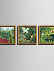 E-HOME® Framed Canvas Art, Garden View Framed Canvas Print Set Of 3