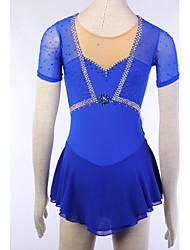 Robe de Patinage Femme Manches longues Patinage Jupes & Robes / Robes Robe de patinage artistique Elasthanne Bleu Tenue de Patinage