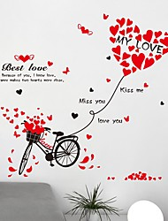 Best Love Bicycle Red Heart Kiss Me Words Wall Stickers Removable Creative DIY Bedroom Living Room Wall Decals