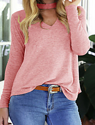 Women's Casual/Daily Sexy / Cute Fall / Winter T-shirt,Solid Halter Long Sleeve Pink Polyester