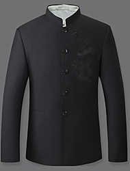 Men's Formal Chinoiserie Jackets,Print Stand Long Sleeve Fall / Winter Black Cotton / Polyester Medium