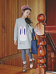 Girl's Casual/Daily Solid DressCotton Winter / Fall Gray