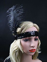 Women's Feather Onyx Sequins Headpiece-Special Occasion / Party Flowers 1 Piece Black