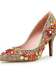 Women's Heels Novelty Glitter Microfibre Wedding Dress Party & Evening Stiletto Heel Crystal Sequin Sparkling Glitter Gold