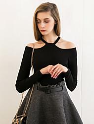 Damen Standard Pullover-Ausgehen Einfach Solide Schwarz / Lila Halter Langarm Baumwolle Frühling / Herbst Mittel Dehnbar