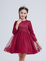 A-line Knee-length Flower Girl Dress - Cotton / Satin / Tulle 3/4 Length Sleeve Jewel with Embroidery