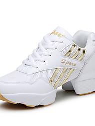 Autumn Women's Dance Shoes Tulle Shoes Fashion Sports Shoes Chunky Heel Black / White EU36-39
