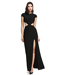 TS Couture Prom Formal Evening Dress - Furcal Sheath / Column Jewel Ankle-length Jersey with Buttons Split Front