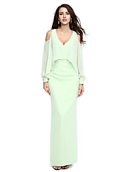 Formeller Abend Kleid Eng anliegend V-Ausschnitt Boden-Länge Chiffon mit Perlstickerei
