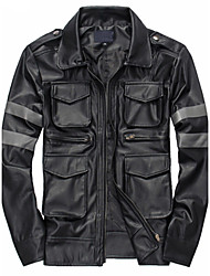 Men's Casual/Daily Simple Leather JacketsSolid Shirt Collar Long Sleeve Fall / Winter Black PU Thick