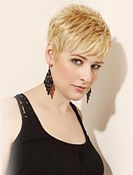atraente curto sem tampa em camadas reta perucas de cabelo humano