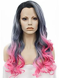 imstyle 24''new Ankunft Drag Queen hitzebeständig grau rosa ombre lange Welle synthetische Perücke Spitze vorne schwarz Wurzel