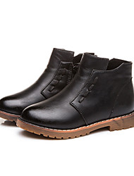 Boys Grils Boots Spring / Fall / Winter Bootie / Comfort Leather Outdoor / Casual Zipper Black / Brown / Red /