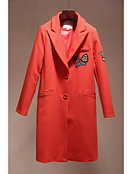 Women's Casual/Daily Simple Coat,Solid Long Sleeve Red Polyester