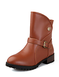 Women's Boots Fall / Winter Comfort Leatherette Dress / Casual Chunky Heel Buckle / Button Black / Yellow / Beige Others