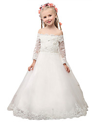 Ball Gown Floor-length Flower Girl Dress - Lace Off-the-shoulder with Appliques Lace