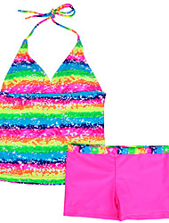 2016 Toddler & Teens Summer Two Pieces Tankinis Rainbow Print  Swimsuit for 816 Years Girl Beachwear