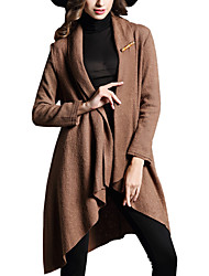 Fall/Winter Women Solid Color Asymmetrical Long Sleeve Street chic Trench Coat Ladies Casual Fashion