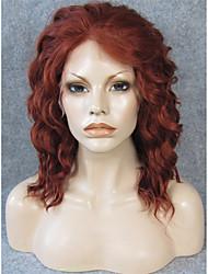 imstyle 14''beautiful pelucas frente de onda corta de encaje sintético castaño resistentes al calor