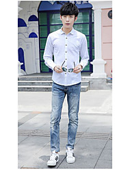 Men's Going out Simple Fall ShirtSolid Stand Long Sleeve White Cotton Medium