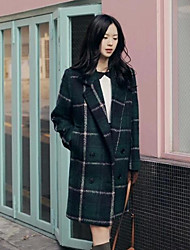Women's Padded Coat,Simple Casual/Daily Plaid-Polyester Without Filling Material Long Sleeve Green
