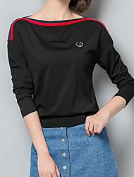 Tee-shirt Femme,Rayé Sortie / Décontracté / Quotidien / Grandes Tailles simple / Chic de Rue Printemps / Automne Manches Longues Bateau