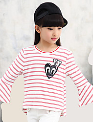 Girl's Casual/Daily Eye Print Striped Tee Long Angel Sleeve Cotton Blouse