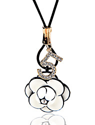 Necklace Rhinestone Jewelry Wedding / Party / Daily / Casual Flower Style Alloy Black 1pc Gift