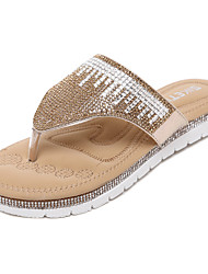 Women's Slippers & Flip-Flops Spring Summer Fall Leatherette Dress Casual Flat Heel Sequin Sparkling Glitter Hollow-out Gore Silver Gold