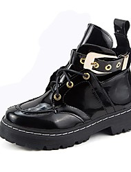 Women's Fashion Leather Boots Low Heel Buckle Split Joint Black Boots
